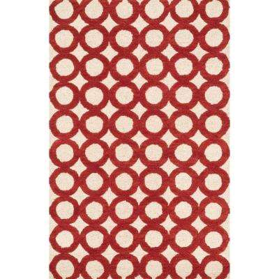 Weston Lifestyle Collection Ivory/Red 3 ft. 6 in. x 5 ft. 6 in. Area Rug