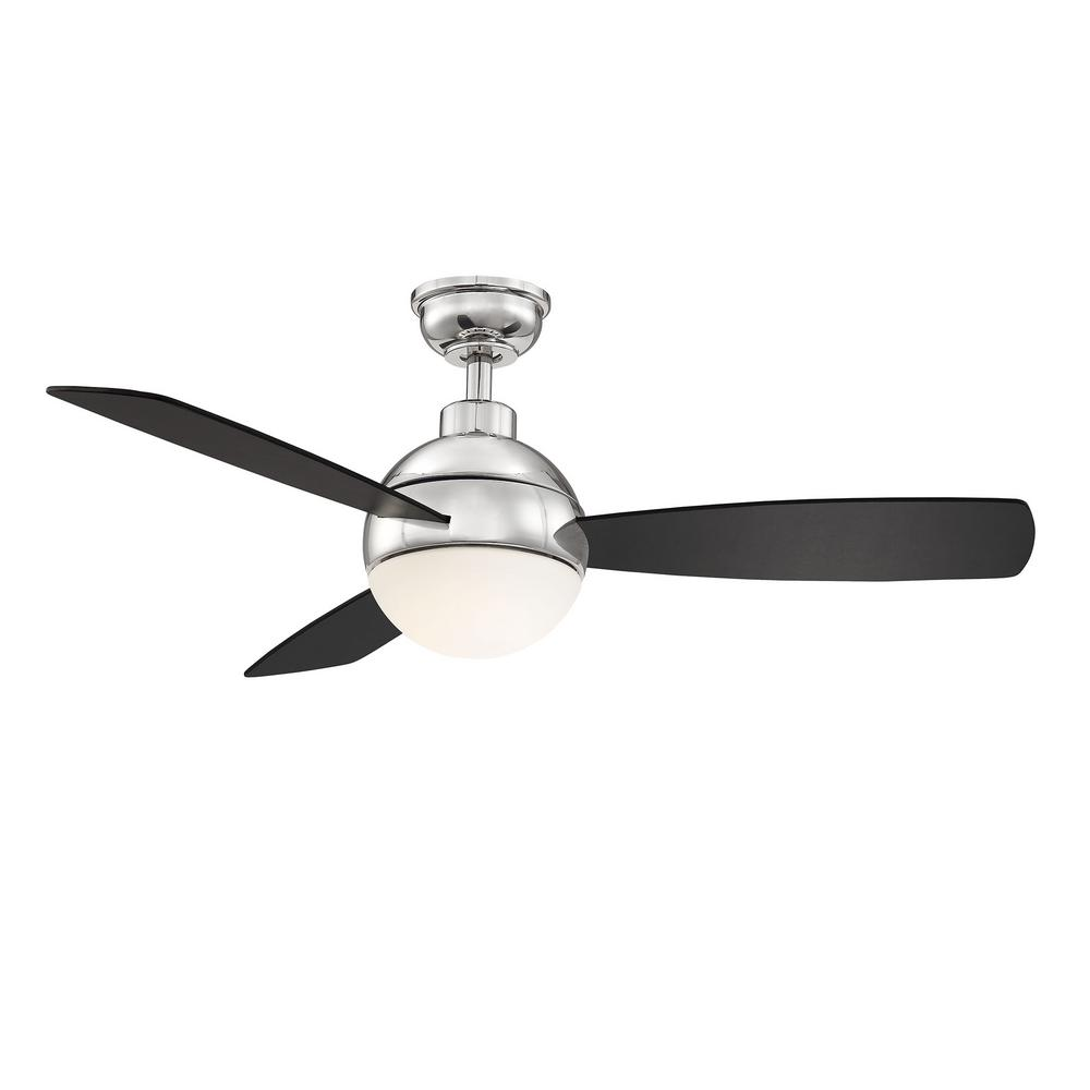 Home Decorators Collection Alisio 44 in. LED Polished Nickel Ceiling Fan with Light and Remote Control