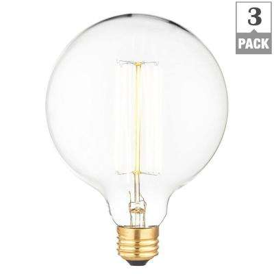 40-Watt Incandescent G30 Light Bulb (3-Pack)