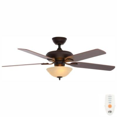 Flowe 52 in. LED Indoor Mediterranean Bronze Ceiling Fan with Light Kit and Remote Control