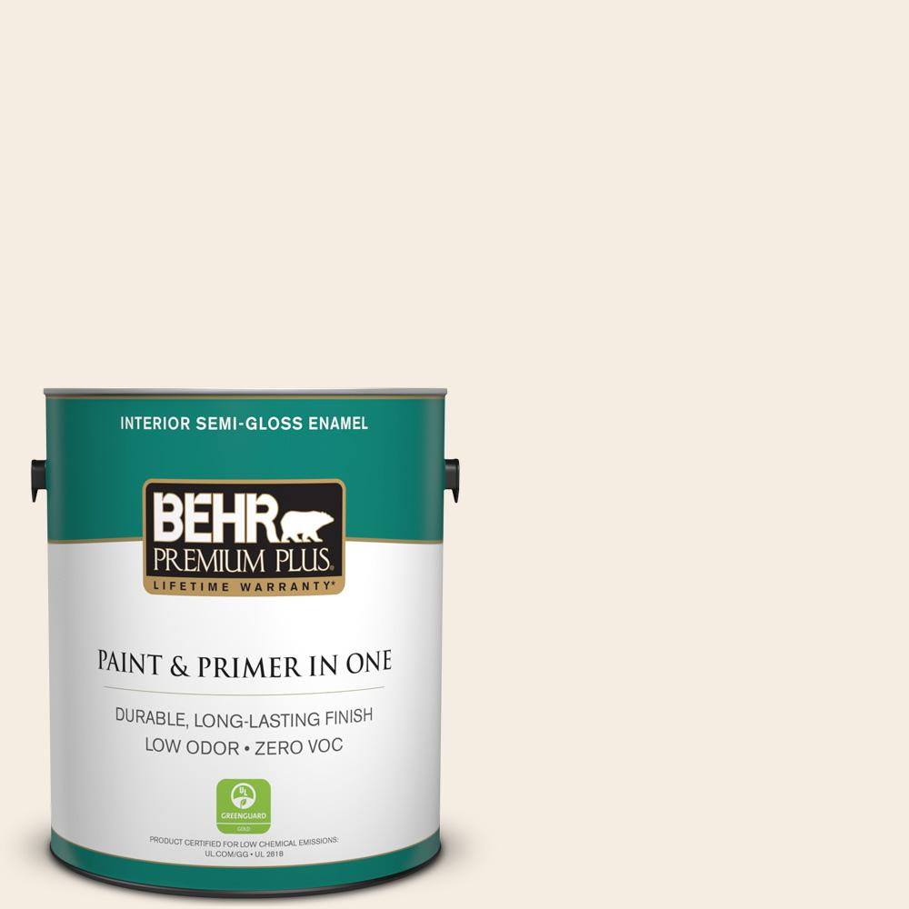 BEHR Premium Plus 1-gal. #PWN-33 Edwardian Lace Zero VOC Semi-Gloss Enamel Interior Paint