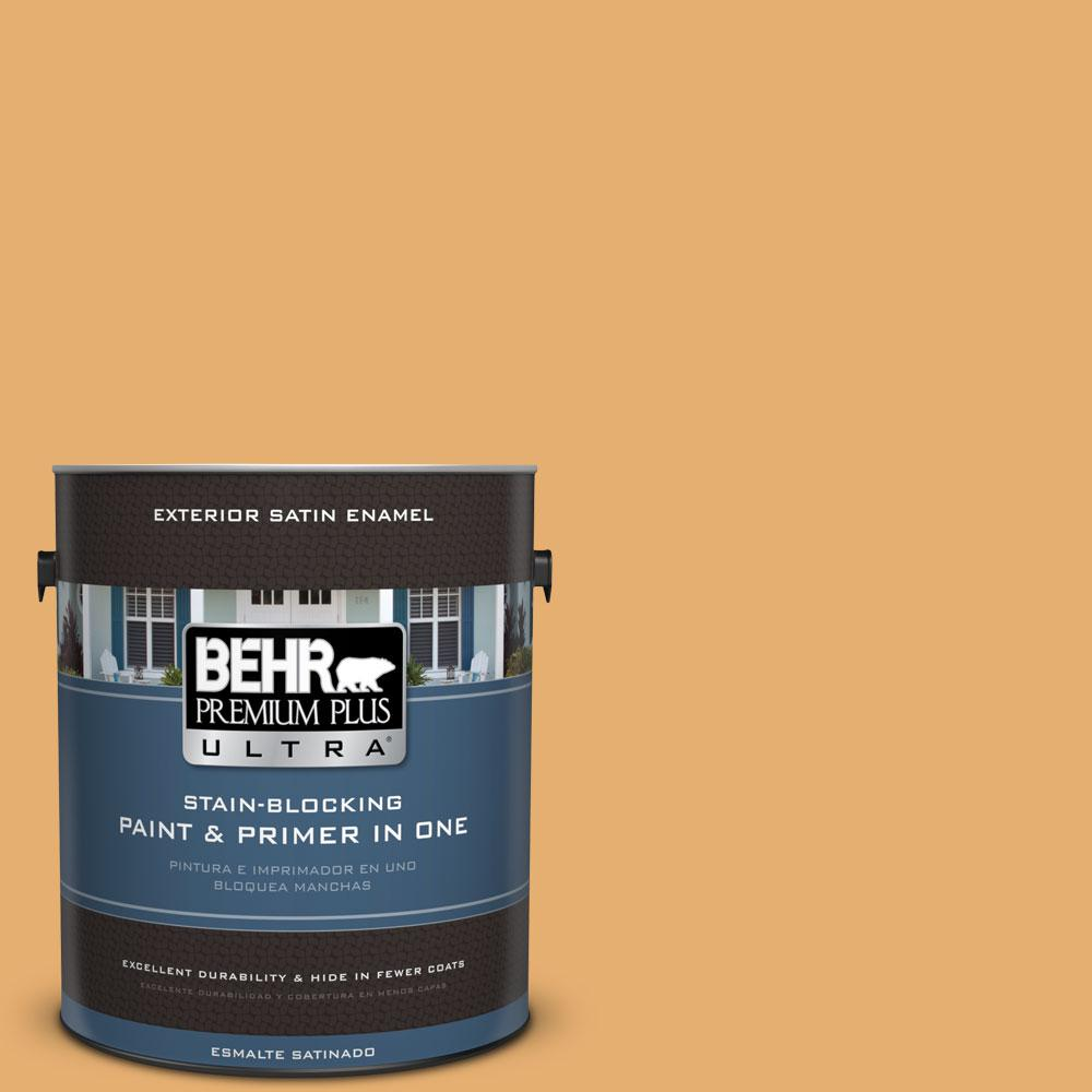 BEHR Premium Plus Ultra 1-gal. #M260-5 Mac N Cheese Satin Enamel Exterior Paint