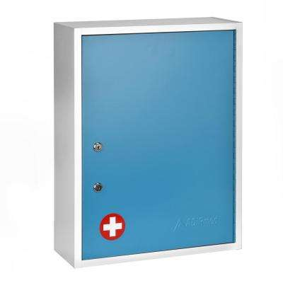 21 in. H x 16 in. W x 6 in. D Large Dual Lock Surface-Mount Medical Security Cabinet in Blue