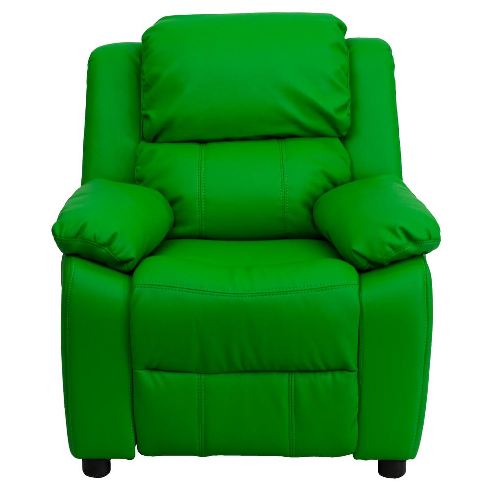 FLASH Deluxe Padded Contemporary Green Vinyl Kids Recline...