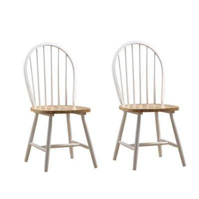 Farmhouse White and Natural Wood Dining Chair (Set of 2)