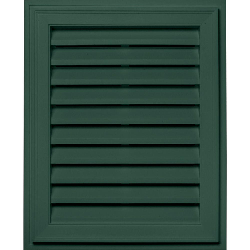 20 in. x 30 in. Brickmould Gable Vent in Forest Green