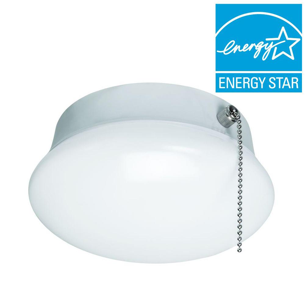 7 in. Bright/Cool White Integrated LED Flushmount Ceiling Light Lampholder Bulb