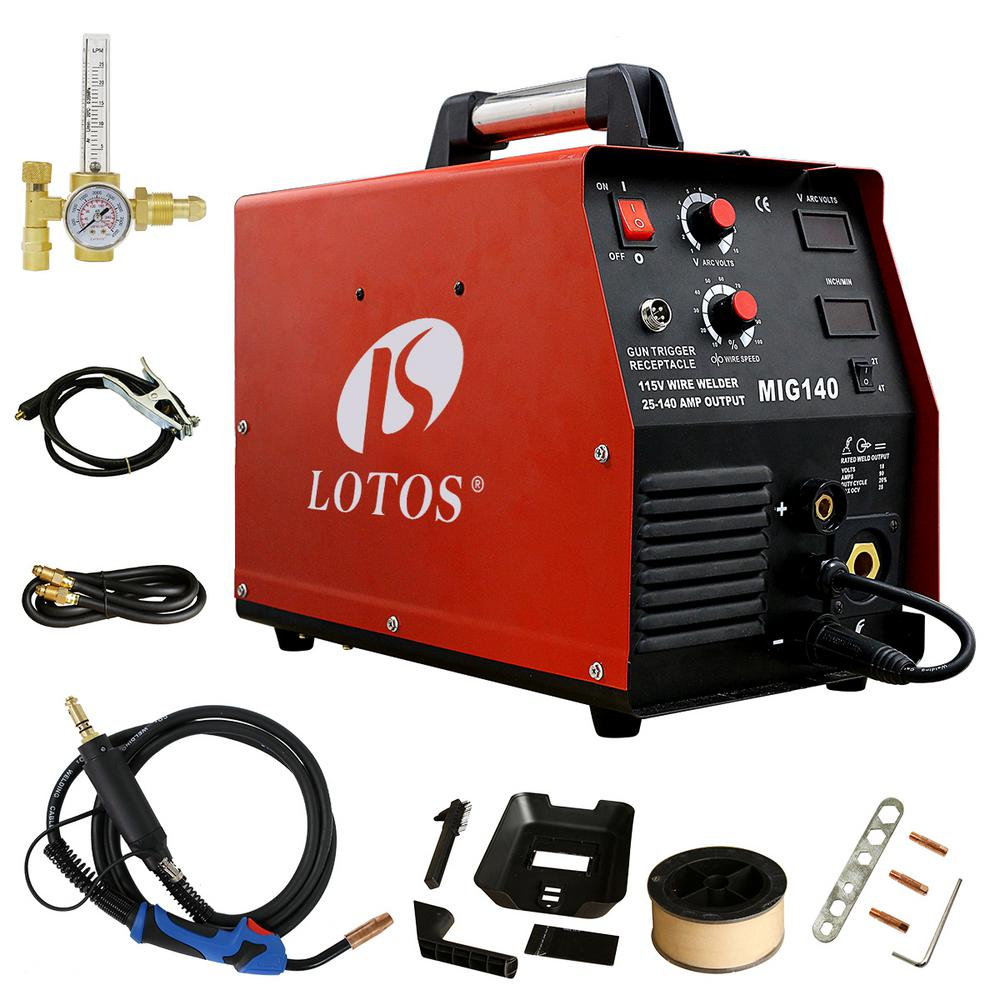 Lotos 140 Amp MIG Wire Feed Welder, Flux Core Welder and Aluminum Welding with 2T/4T Switch (Spool Gun sold separately), 110V