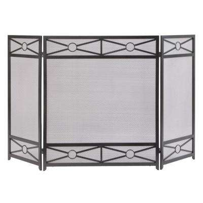 Sheffield 3-Panel Fireplace Screen in Vintage Iron