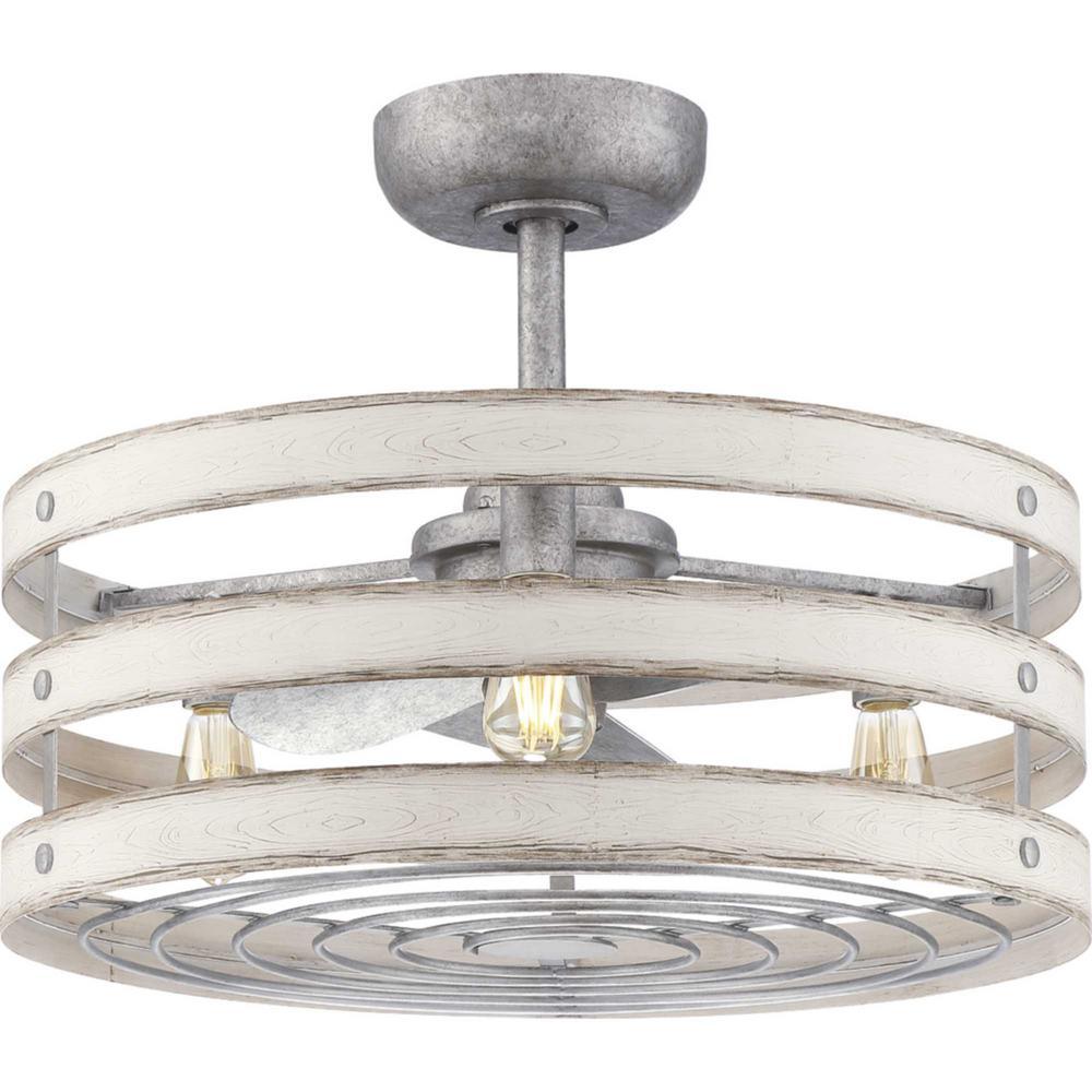 Progress Lighting Gulliver 23 in. LED Indoor 3-Blade Antique White Fandelier Ceiling Fan wtih Light