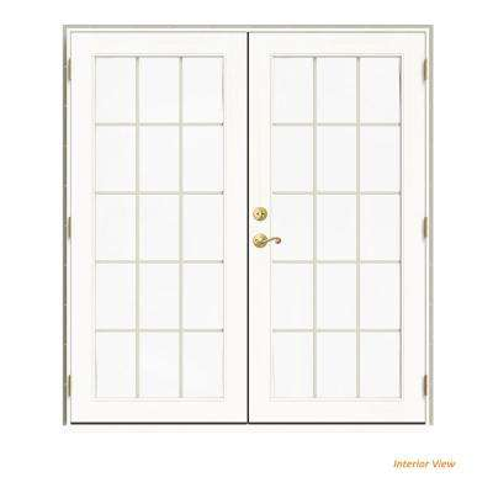 72 in. x 80 in. W-2500 Desert Sand Clad Wood Left-Hand 15 Lite French Patio Door w/White Paint Interior