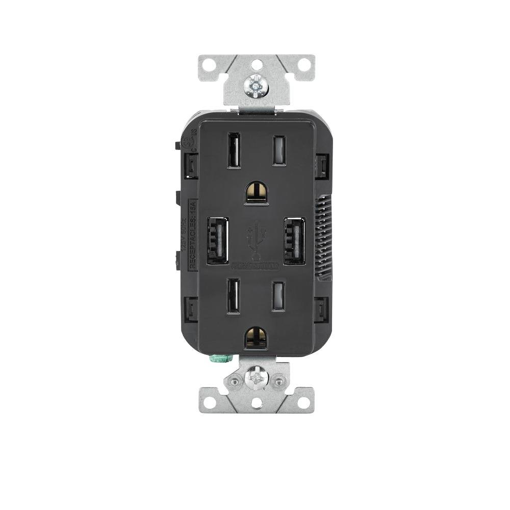 Leviton 15 Amp Decora Combination Tamper Resistant Duplex Outlet and ...