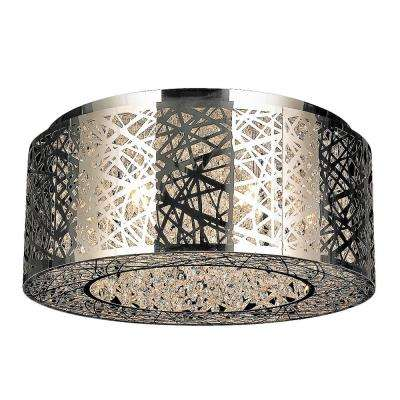 Aramis Collection 9-Light Chrome Crystal Flush Mount
