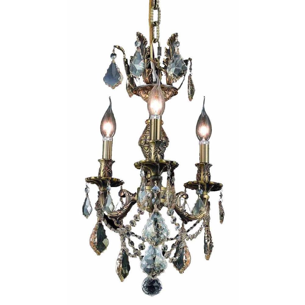 Antique Candle Chandeliers Champagne Crystal Chandelier: Elegant Lighting 3-Light Antique Bronze Chandelier With