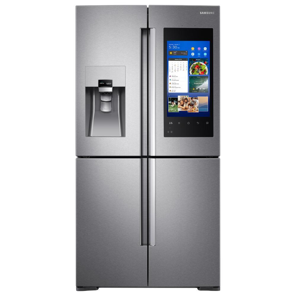 Samsung 22 cu. ft. Family Hub 4-Door Flex French Door Smart  Refrigerator in Stainless Steel, Counter Depth