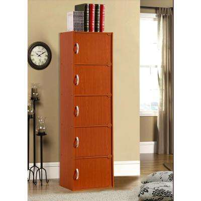 5-Shelf, 59 in. H Cherry Bookcase with Doors