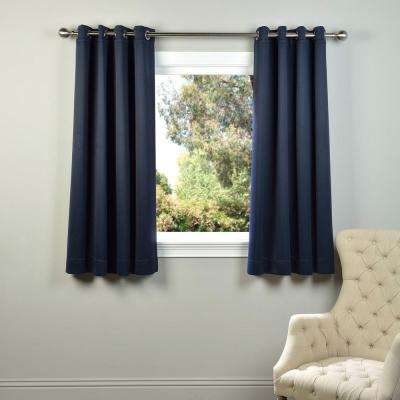Semi-Opaque Navy Blue Grommet Blackout Curtain - 50 in. W x 63 in. L (Panel)