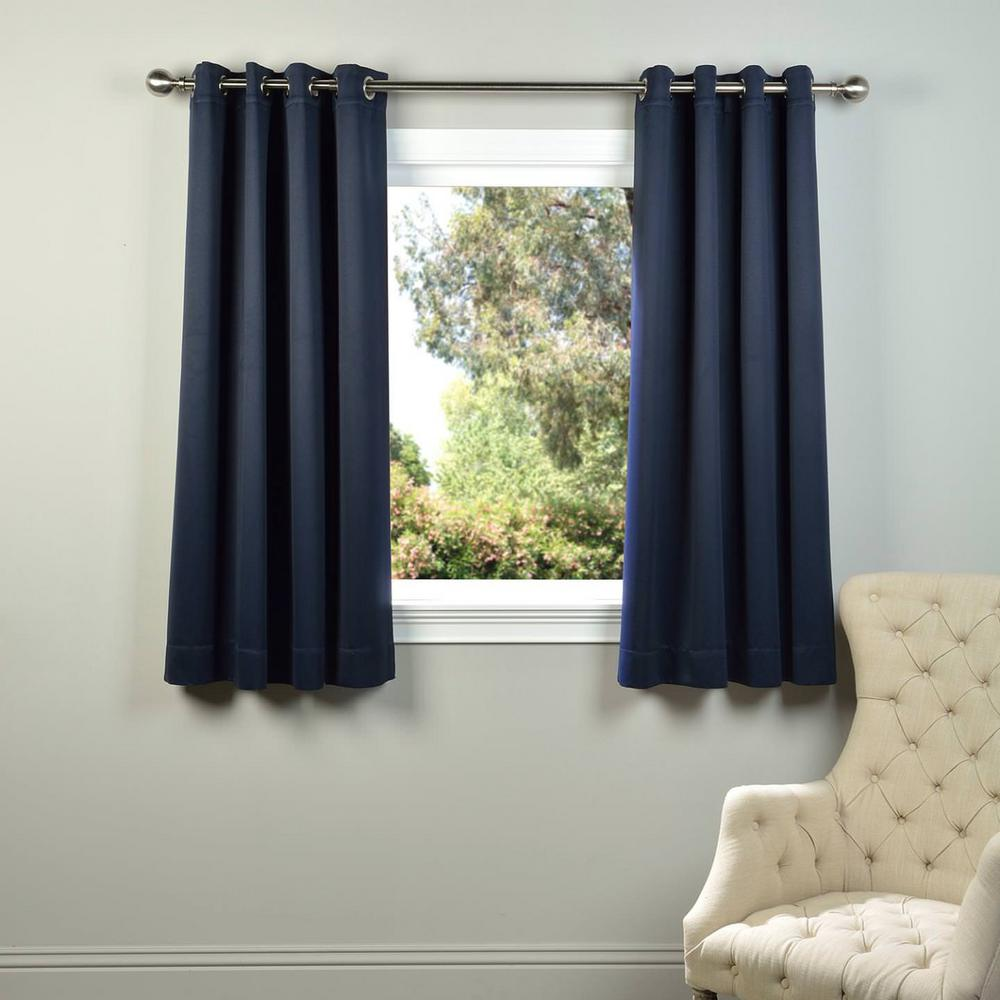 exclusive fabrics furnishings semi opaque navy blue grommet blackout curtain 50 in w x 63. Black Bedroom Furniture Sets. Home Design Ideas