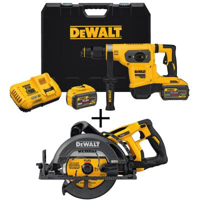 DEWALT Flexvolt 60-Volt MAX Lithium-Ion 1-9/16 in. Cordless Brushless Combination Rotary Hammer w/ Bonus Wormdrive Circular...