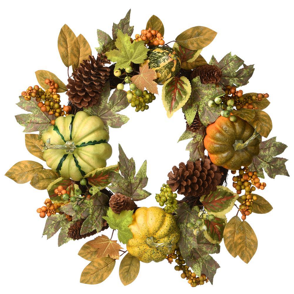 """22"""" Pumpkins & Maple Leaves Harvest Wreaths"""