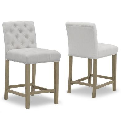 24 in. Alee Beige Fabric with Tufted Buttons and Wood Legs Counter Stool (Set of 2)