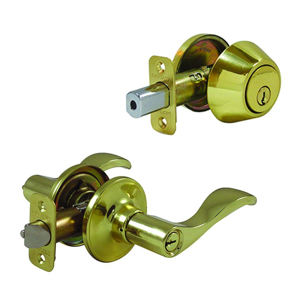 Naples Single Cylinder Polished Brass Entry Door Lever Combo Pack
