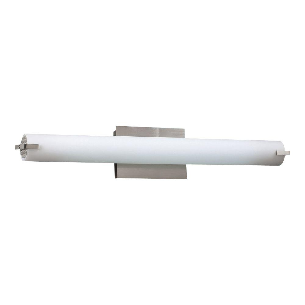 1-Light Satin Nickel Bath Vanity Light with Matte Opal Glass
