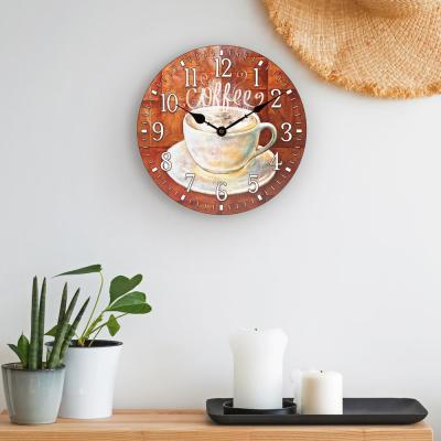 12 in. H Round Coffee Decor Analog Wall Clock