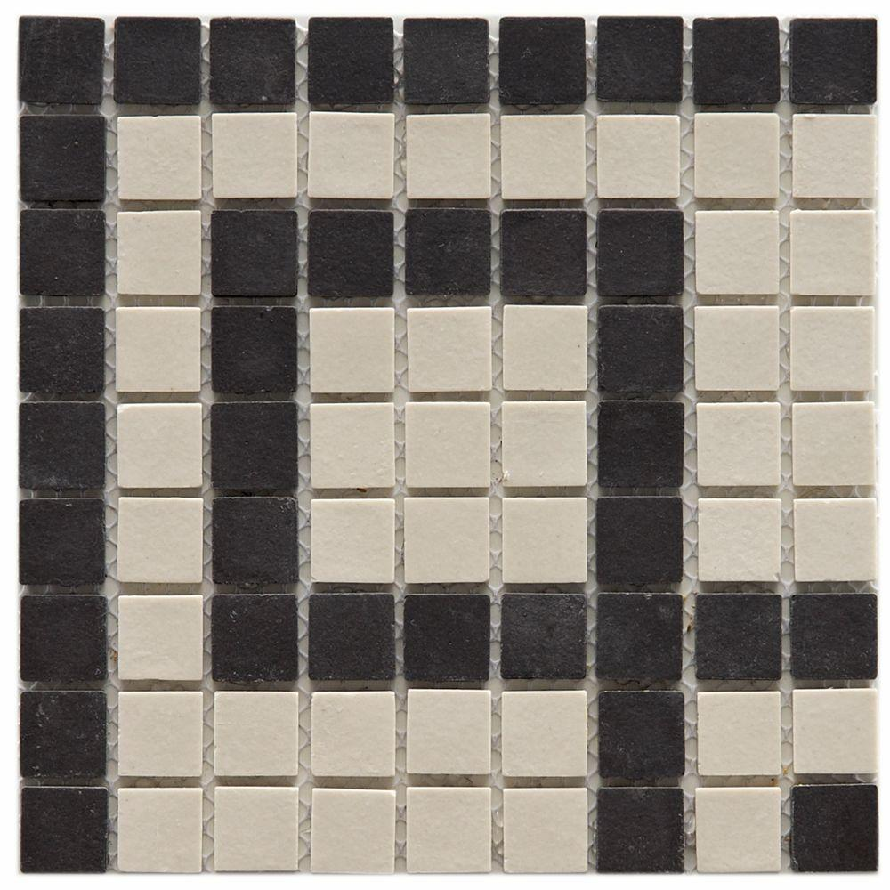 Merola Tile Old World Greek Key Antique White and Black 14-1/2 in. x 14-1/2 in. x 5 mm Unglazed Porcelain Mosaic Floor and Wall Tile