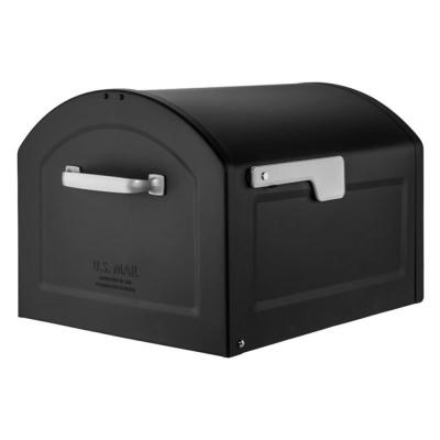 Centennial Extra Large Capacity Post Mount Parcel Mailbox in Black with Premium Silver Handle and Flag
