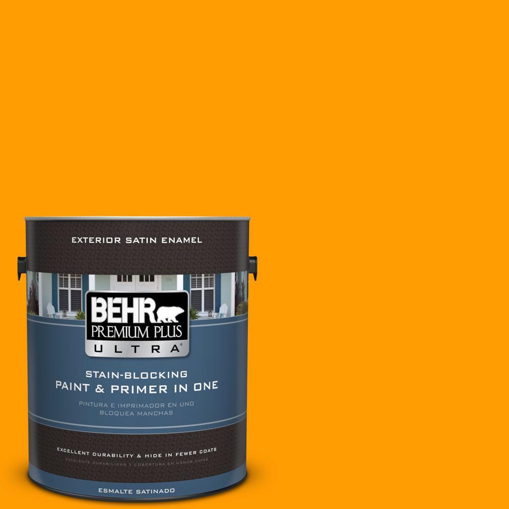 BEHR Premium Plus Ultra 1-gal. #S-G-320 Atomic Tangerine Satin Enamel Exterior Paint