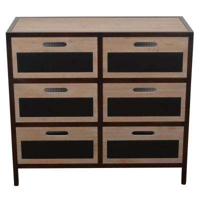 Distressed Brown Chalkboard Storage Drawer Console Table