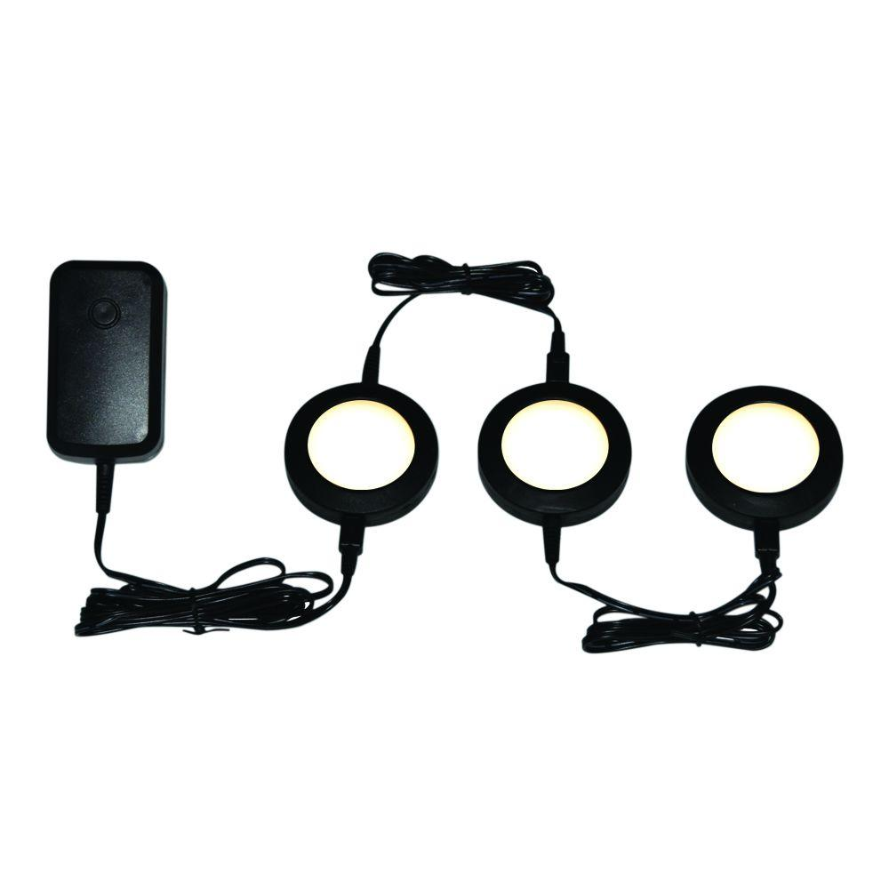 Getinlight Led Puck Lights Kit: Commercial Electric Black LED Dimmable Puck Light Kit