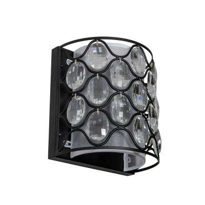 Claire 6.25 in. 2-Light Crystal and Black Steel Framework Wall Sconce