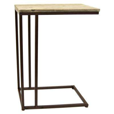 26 in. Gray Wood Metal C Table