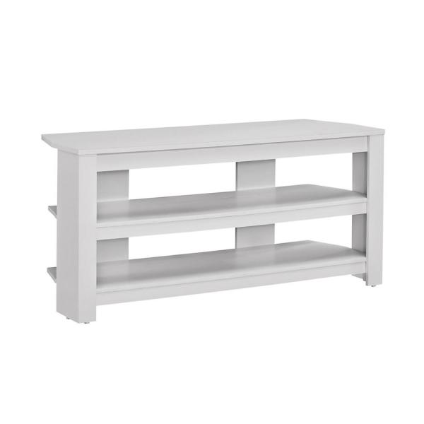 42 in. White Particle Board Corner TV Stand Fits TVs Up to 42 in. with Open Storage