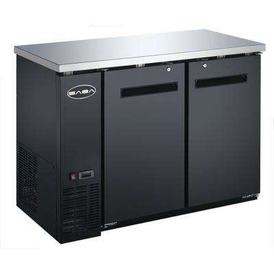 60 in. W 15.8 cu. ft. Commercial Solid Door Under Back Bar Cooler Refrigerator in Stainless Steel with Black