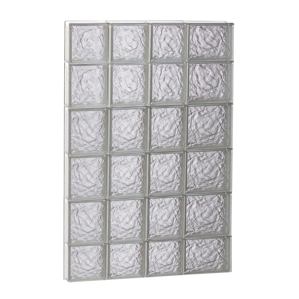 Clearly secure 25 in x 42 5 in x in ice pattern for Pre assembled glass block windows