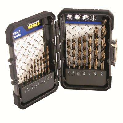 Industrial M35 HSS Cobalt Drill Bit Set 17-Piece 1/16 in. - 3/8 in. Drilling in Hard Materials and Stainless Steel