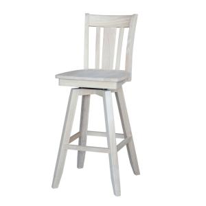 San Remo 30 in. Unfinished Wood Swivel Bar Stool