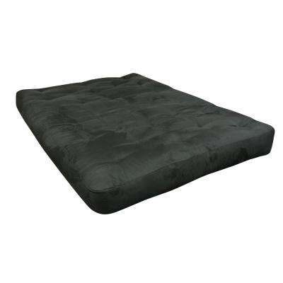 611 King 8 in. Foam and Cotton Black Microfiber Futon Mattress
