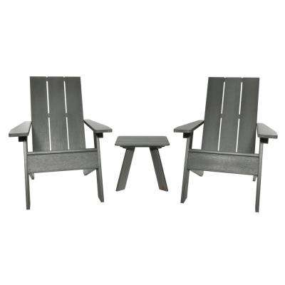Barcelona Modern Coastal Teak 3-Piece Plastic Patio Conversation Set