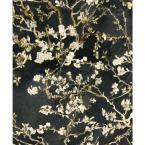 Almond Blossom Bold Floral Wallpaper Black Paper Strippable Roll (Covers 57 sq. ft.)