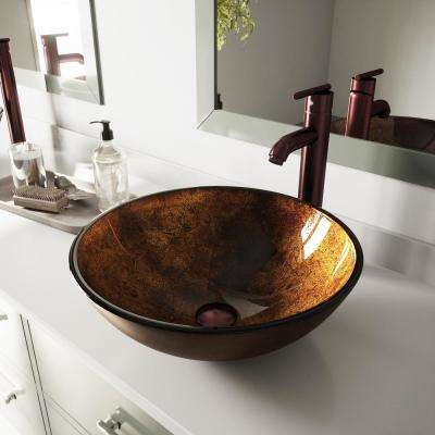 Glass Vessel Bathroom Sink in Russet with Faucet Set in Brown