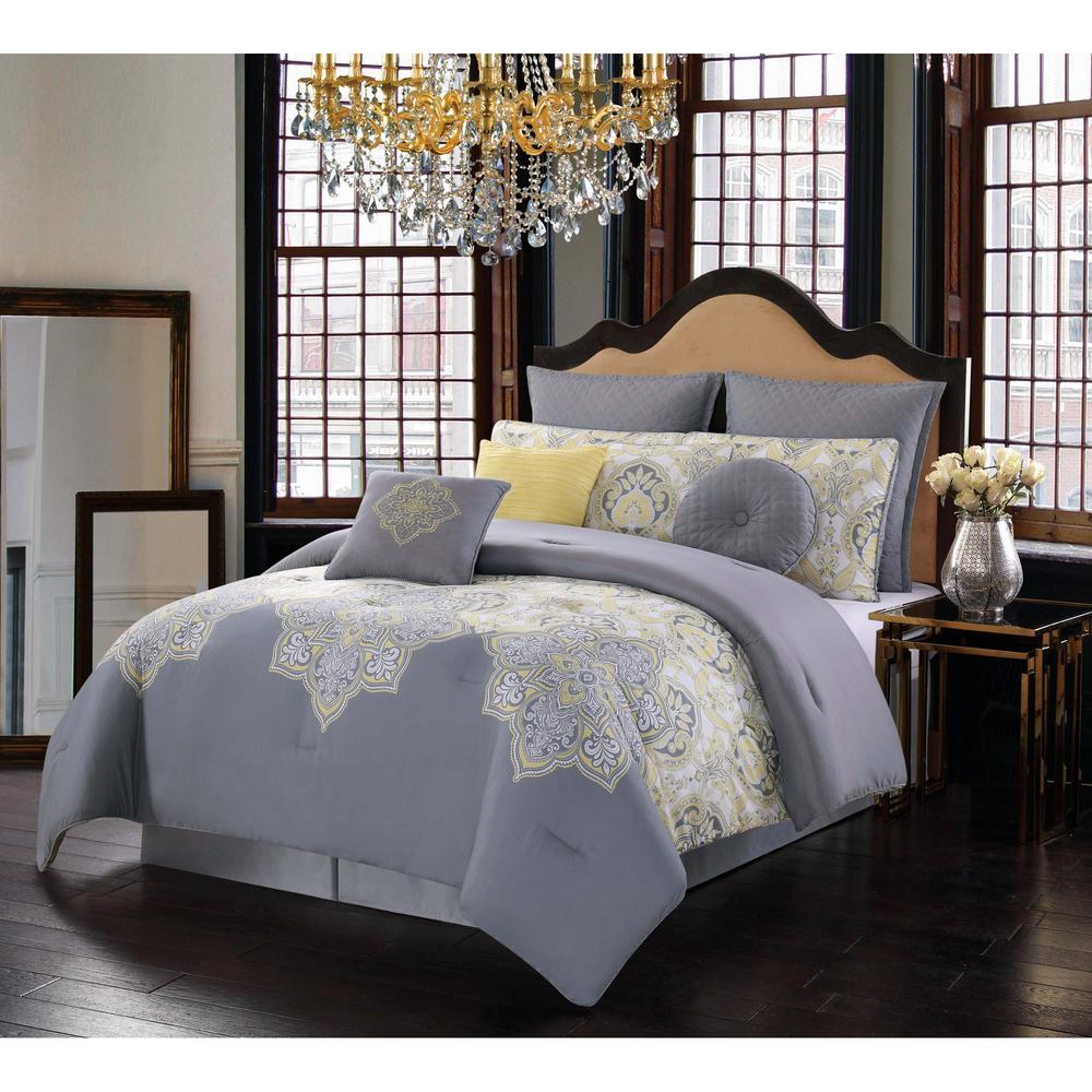 Melania 10-Piece Grey and Yellow Queen Comforter Set