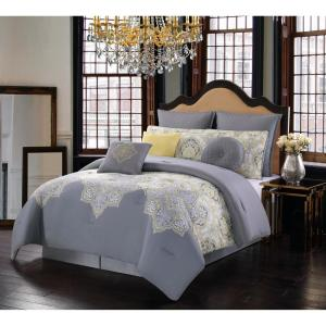 Style 212 Melania 10 Piece Grey And Yellow Queen Comforter Set