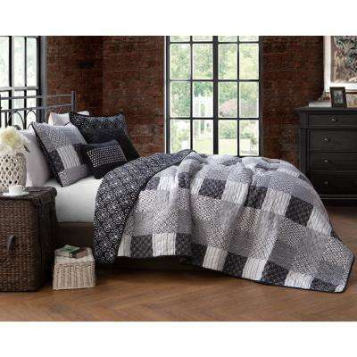 Evangeline Black Twin Quilt Set (4-piece)