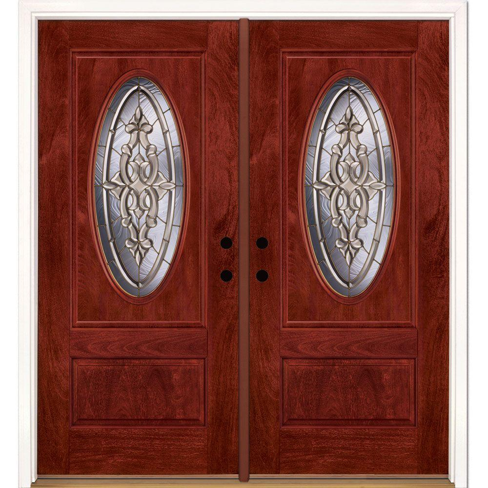 74 in.x81.625 in. Silverdale Brass 3/4 Oval Lite Stained Cherry Mahogany