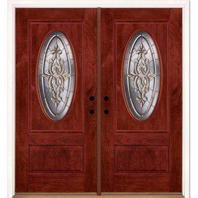 74 in.x81.625 in. Silverdale Brass 3/4 Oval Lite Stained Cherry Mahogany Right-Hand Fiberglass Double Prehung Front Door
