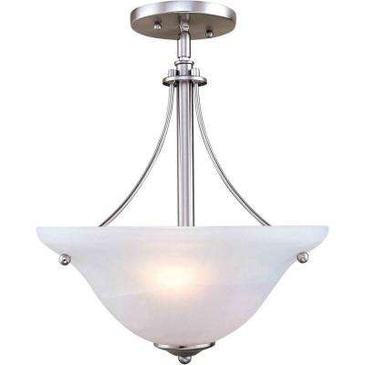 2-Light Brushed Nickel Semi Flush Mount with Marble Glass